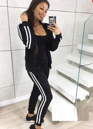 Смарт женский спортивный костюм с лампасами кофта на молнии черный