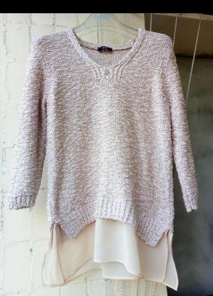 Розовый пудровый персиковый с золотой нитью свитшот свитер джемпер с блузой  от f&f