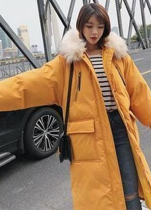 Зимняя куртка пальто оверсайз с накладными карманами