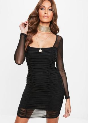В наличии роскошное платье-сетка со сборками missguided ms772
