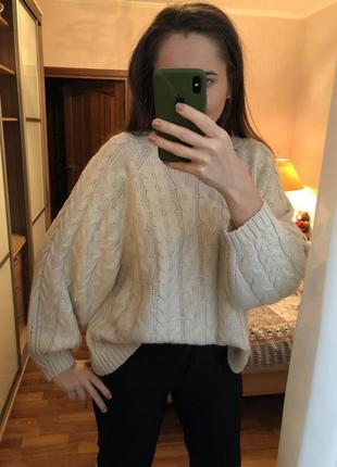Джемпер свитер оверсайз молочного цвета1 фото