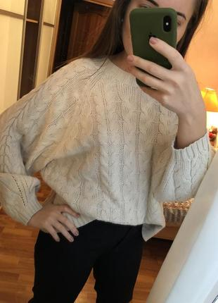 Джемпер свитер оверсайз молочного цвета2 фото
