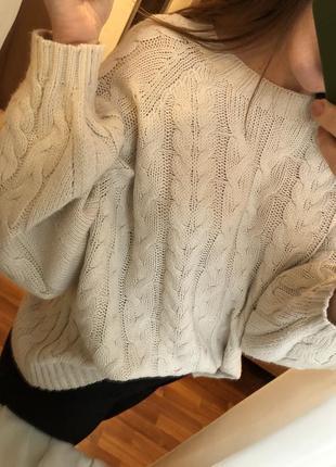 Джемпер свитер оверсайз молочного цвета5 фото
