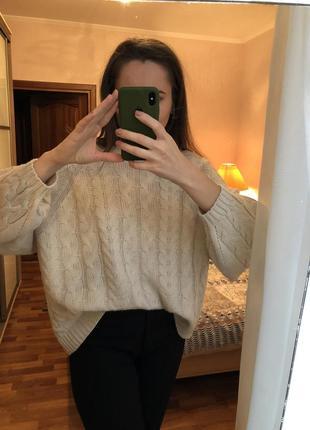 Джемпер свитер оверсайз молочного цвета6 фото