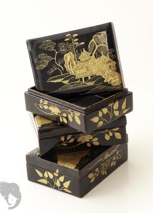 Винтажный набор из трех японских лакированных шкатулок, выполненных в технике маки-э.