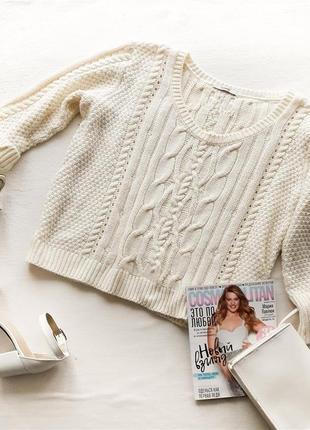 Вязаный свитер укороченный с косами кроп топ  george