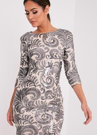 Шикарное нюдовое паеточное платье m-l