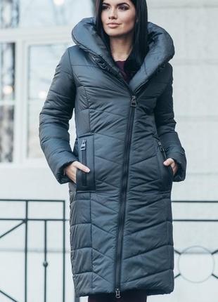 Теплый зимний пуховик куртка темный изумруд малахитовый 44 s и другие