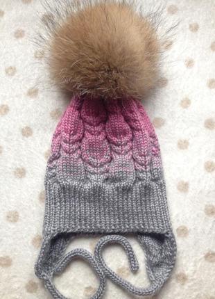Теплющая шапка для девочки 5-8 лет