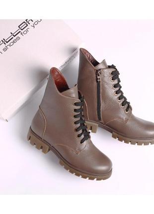 Зимние кожаные ботинки на овчине