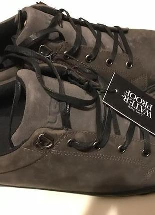 Туфли водонепроницаемые ugg brock ii wp кожа нубук угги waterproof темно серые оригинал