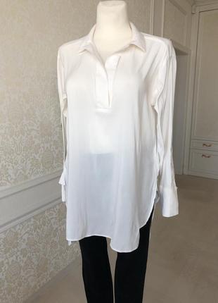 Блуза белая длинная , рукав длинный , м ,, h&m