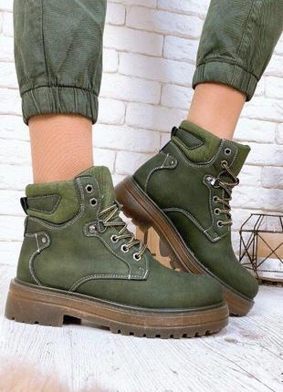 Нереально красивые зимние ботинки цвета хаки
