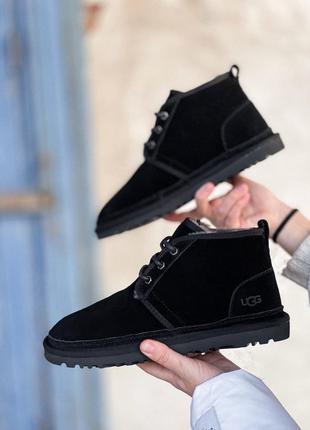 Ugg classic neumel boot black man мужские зимние угги сапоги чёрные зима овчина