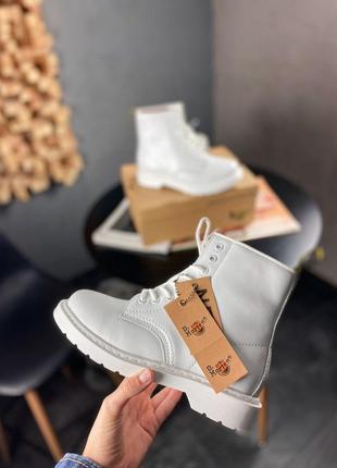 Dr. martens 1460 mono white женские зимние ботинки мартинс белые с мехом