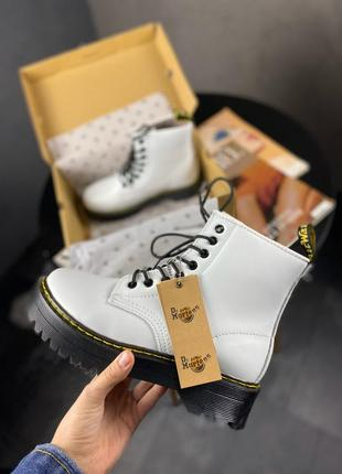 Dr. martens jadon white женские зимние ботинки мартинс белые с мехом