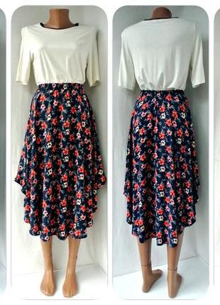 Очаровательная вискозная юбка миди hollister в цветочек. размер xs/s.