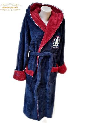 Махровые теплые мужские халаты с капюшоном длинные на запах турция, тм massimo monelli