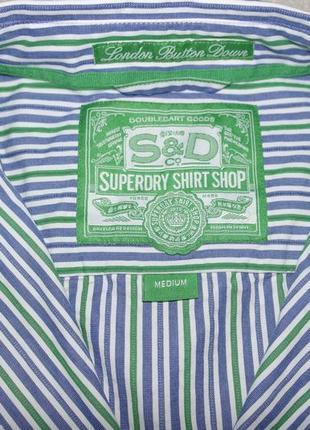 Отличная superdry рубашка мужская м 48 полоска длинный рукав india