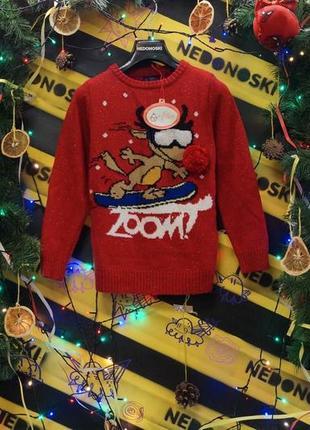 Новогодний рождественский свитер олень на сноуборде (глаза моргают от движения)