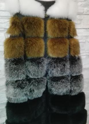 Жилет новый женский меховой длинный жилетка меховая 4 цвета размеры все