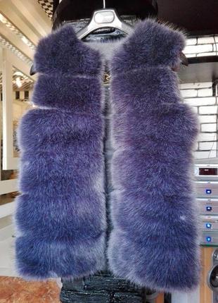 Распродажа трансформер жилет длинный меховая жилетка чернобурка эко