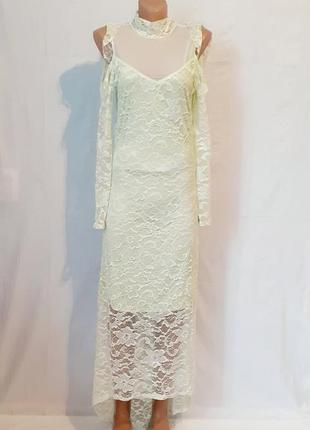 Кружевное платье цвета мяты разм м-л voyelles