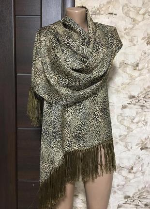 Роскошный шёлковый шарф,палантин в леопардовый принт!!