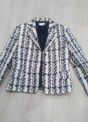 Шикарный шерстяной пиджак*вязаный жакет*блейзер* италия dream