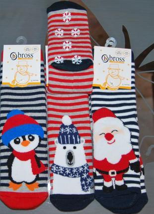 Теплые махровые носки bross 3-5, 5-7, 7-9 лет пингвин дед мороз новогодние