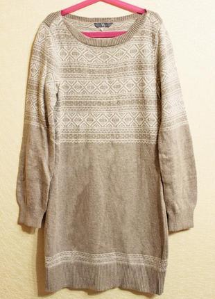 Удлиненный свитер норвежский узор