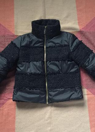 Красивая куртка с твидовыми вставками крутая куртка на осень зиму
