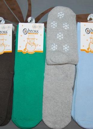 Теплые махровые носки bross 5-7, 7-9, 9-11 лет однотонные