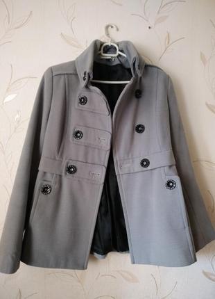 Двубортное шерстяное(кашемировое) пальто в стиле милитари