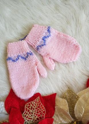 Вязані дитячі рукавички варішки