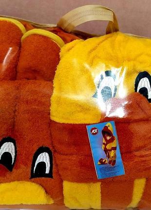 Халат полотенце набор подарочный махровый халат с капюшоном тапки