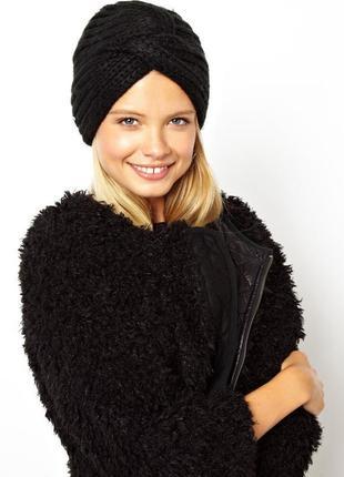 Обалденная шапка-чалма вязаный тюрбан чёрного цвета 100% ручная работа