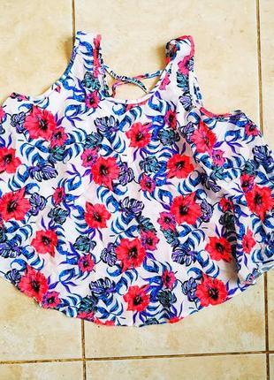 Топ primark майка блуза с шнуровкой сзади цветочный тропический принт неон