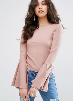 Плиссированная блуза. блуза цвет пудра
