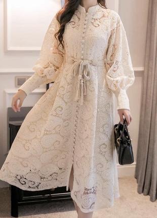 Шикарное молочное белое бежевое  кружевное платье молочного цвета1 фото