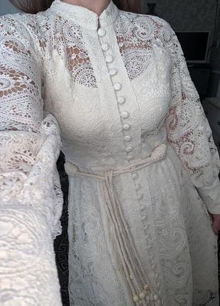 Шикарное молочное белое бежевое  кружевное платье молочного цвета2 фото