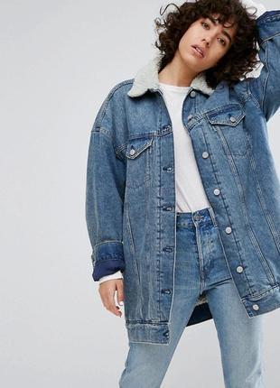 Удлиненная джинсовая куртка h&m