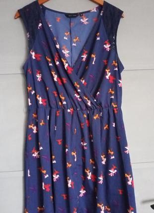 Яркий сарафан. лёгкое платье . туника. птицы . принт . большой размер. батал