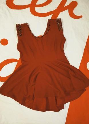 Вечернее платье топ под леггинсы шипы баска