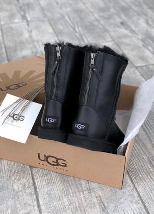 Ugg short ii black leather натуральные женские зимние сапоги угги серые зима овчина
