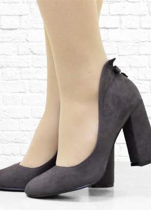 Женские туфли на каблуке bow. серые. 25 см