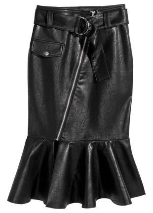 Крутая кожаная юбка с круглым поясом и косой змейкой, юбка миди в стиле годе с воланом