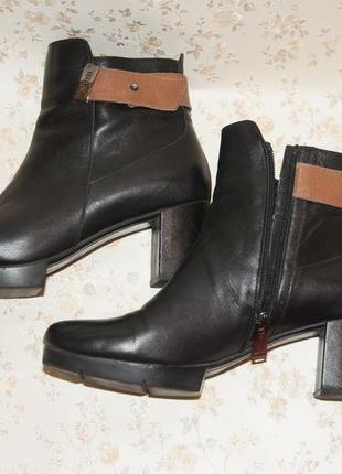 Осенние ботинки fellini на узкую ножку. средний каблук. полностью кожа! полусапожки