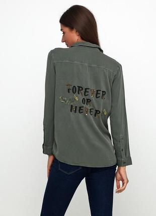 H&m блуза рубашка хаки вышивка