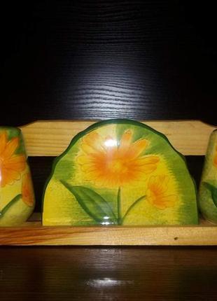 Набор для соли, перца и салфеток. керамика
